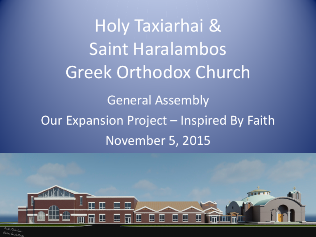 Saint Haralambos Expansion November 2015 Assembly